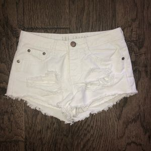 Pants - The Frayed Mid Rise Jean Shorts